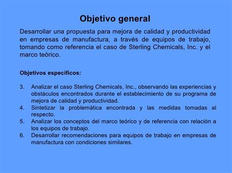 mejora de la calidad y productividad caso sterling