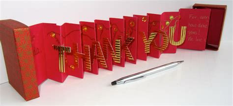 Handmade To Order - thank you card in a box accordion miniature book card by