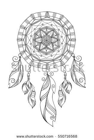 american inspired coloring book dreamcatcher 50 tribal mandalas patterns detailed designs books dreamcatcher decorative boho style stock vector