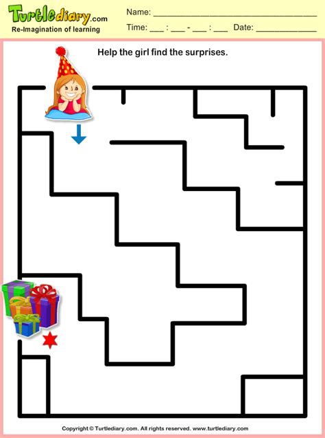 party girl maze worksheet turtle diary
