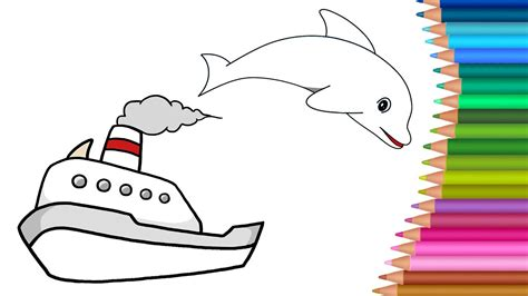 boat drawing colour boat coloring pages colours for kids kids drawing colors