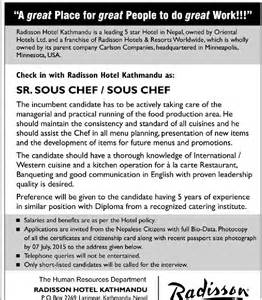 Chef Duties And Responsibilities by Radisson Hotel Sr Sous Chef Sous Chef In Nepal