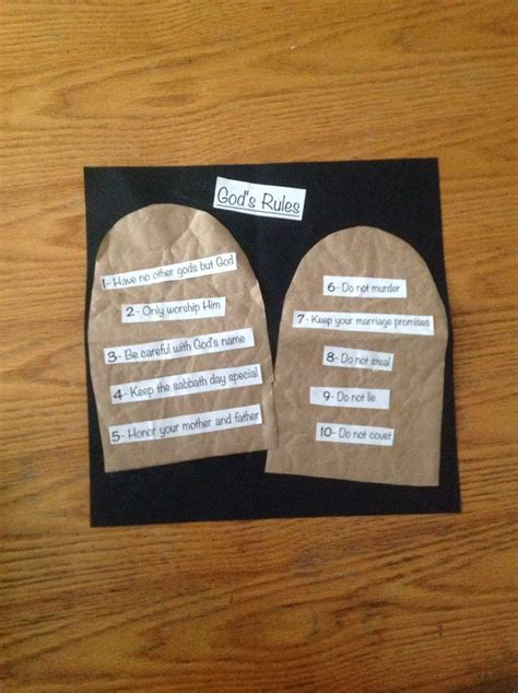10 commandments craft for ten commandments craft children church