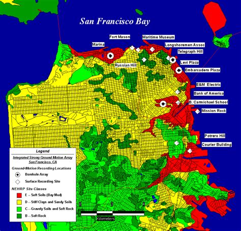 san francisco quake map integrated strong motion soil response arrays in san