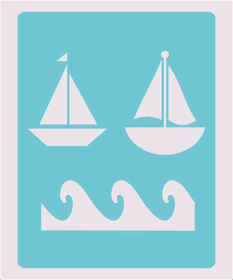 boat stencil waves boat stencil crafts paint color wall decoration kids