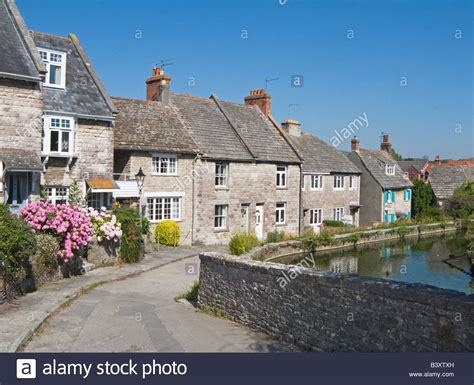 mill pond cottage swanage dorset uk mill pond cottages stock photo
