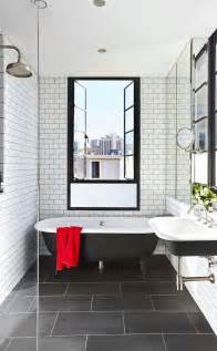 Modern Subway Tile with window dark grout subway tile black floor tile white subway tile