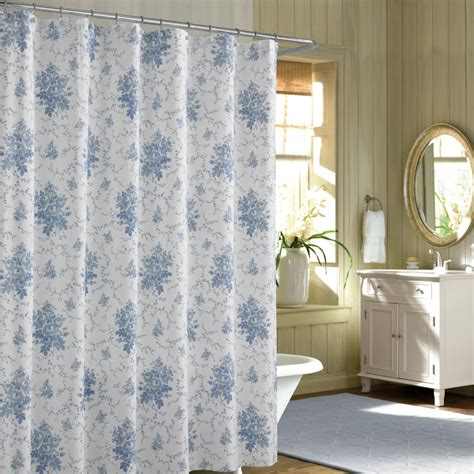Shower Curtain For Blue Bathroom Blue Floral Shabby Chic Shower Curtains Sets For Bathroom With White Bath Tub And A White