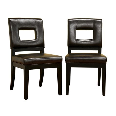 milan faux leather dark brown dining chairs set of 2 baxton studio faustino dark brown faux leather upholstered