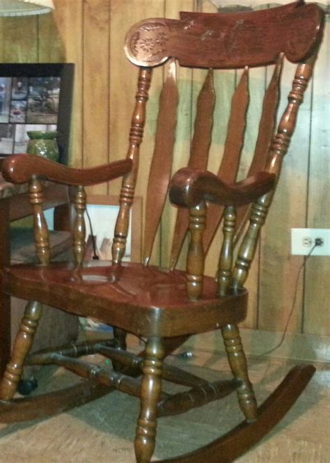 Large Wooden Chair by Large Solid Wood Carved Rocking Chair Collectors Weekly