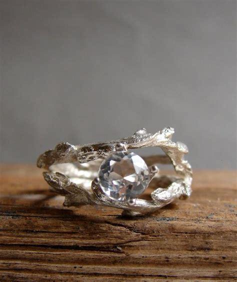 twig engagement ring white topaz unique branch