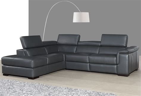 Grey Leather Reclining Sectional Agata Slate Gray Leather Power Reclining Laf Sectional