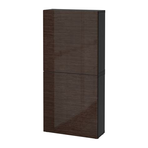 Best 197 Wall Cabinet With 2 Doors Black Brown Selsviken