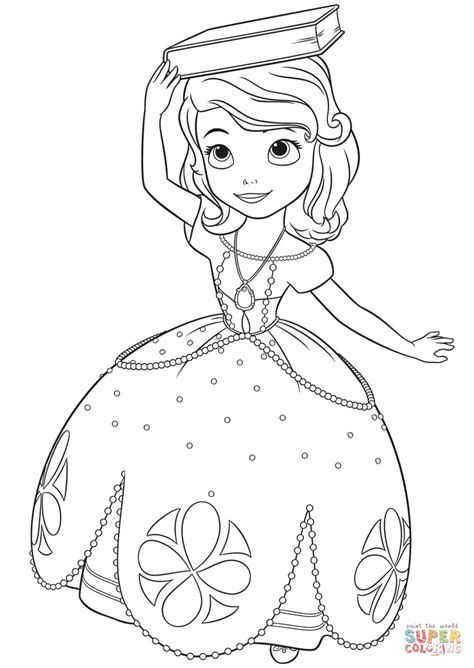 princess head coloring page princess sofia with a book on her head coloring page