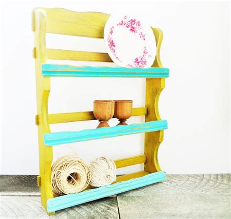 What Is The Shelf Of Mustard by Spice Rack Storage Shelf Mustard Yellow Turquoise Trendy