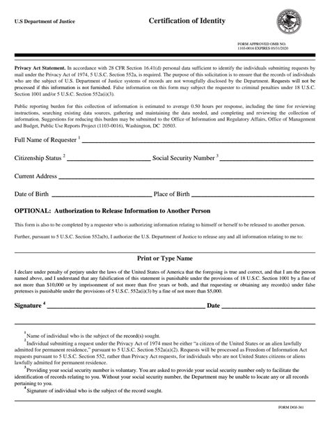 Doj Search U S Department Of Justice Certification Of Identity Form Doj 361 Fbi
