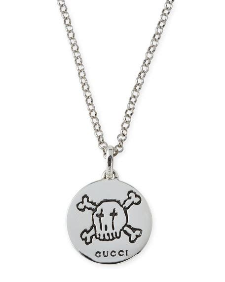 gucci guccighost s sterling silver pendant necklace