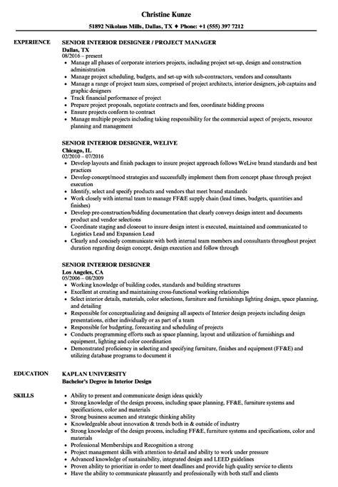 senior interior designer resume sles velvet