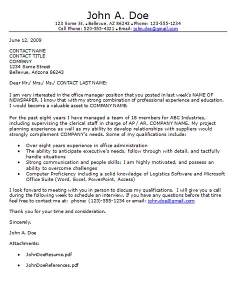 General Interest Cover Letter how to write an ad response cover letter career