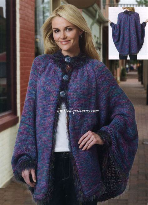 free knitting patterns for ponchos or capes free s ponchos knitting patterns
