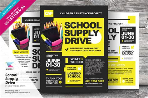 School Supply Drive Flyer Templates By Kinzi21 Graphicriver Drive Flyer Template