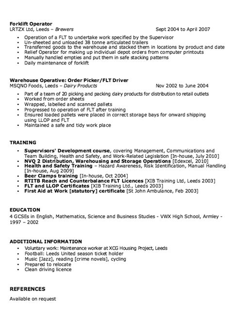 Warehouse Supervisor Resume by Sle Of Warehouse Supervisor Resume Http