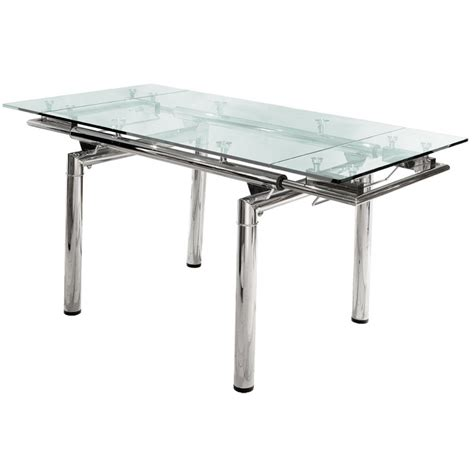 mesa de comedor extensible vidrio cromada