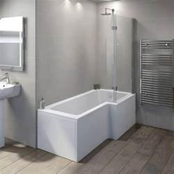 l shaped shower bath boston shower bath 1700 x 850 rh inc 8mm hinged screen