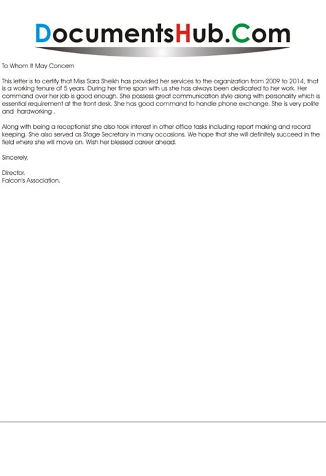 Work Experience Letter Receptionist Experience Letter For Receptionist Documentshub