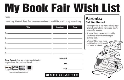 classroom wish list template sterling schools book fair