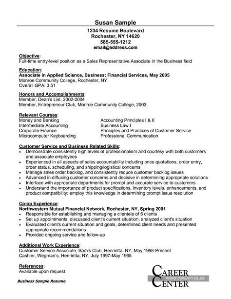 Resume Sles For Entry Level Customer Service Time Entry Level Position Sales Representative Associate With Customer Service And Business