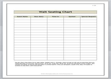 restaurant wait list template workplace wizards restaurant wait chart sheet