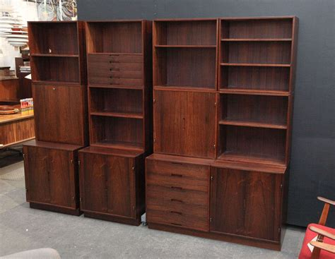 modern rosewood modular bookcase wall system by