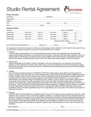 Rental Agreement Tor Studio Fill Online Printable Fillable Blank Pdffiller Studio Contract Template