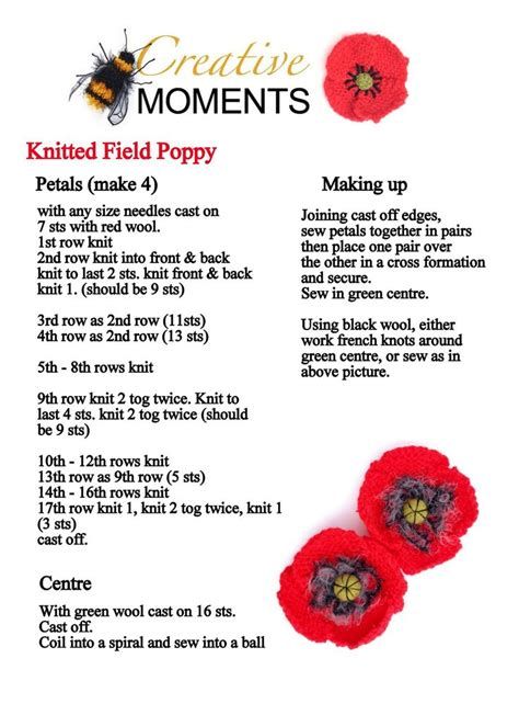 knitting pattern remembrance poppy knitted remembrance poppies google search knitting
