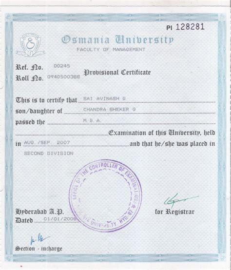 Bcom Mba Nit Warangal Linkedin by Provisional Certificate Of Mba