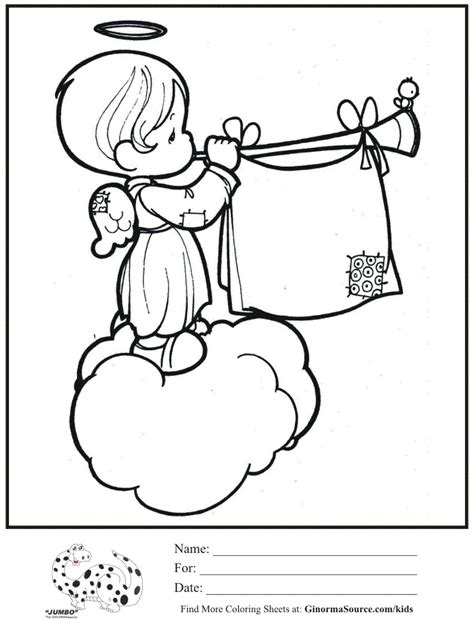 precious moments coloring pages for christmas kids coloring page angel cloud trumpet precious moments