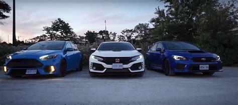 honda and subaru ford focus rs meets 2018 honda civic type r and 2018