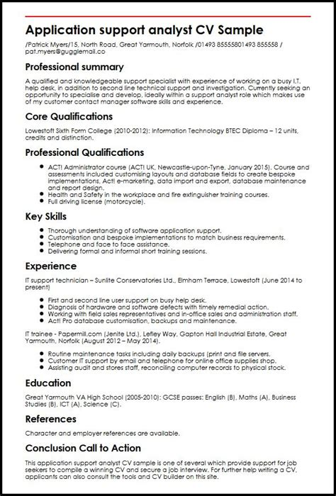 exle of curriculum vitae for application application support analyst cv sle myperfectcv