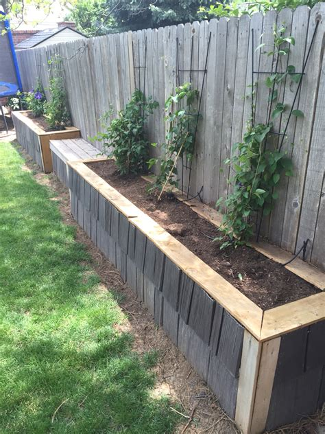 raised garden bed with fence raised garden bed along fence final phase used leftover