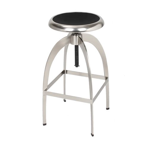 Stainless Steel Adjustable Stool by Adeco Brushed Stainless Steel Adjustable Logan Metal Stool