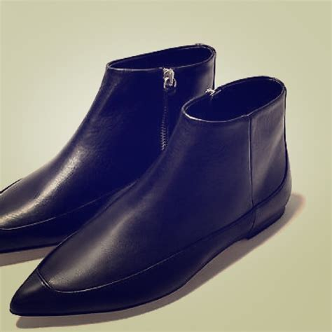 flat pointy black shoes 65 zara shoes zara pointy flat boots black leather