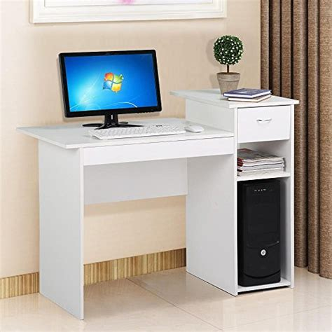 small wood computer desk with drawers yaheetech home office small wood computer desk with