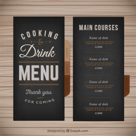 menu card templates cdr menu template in retro style vector free