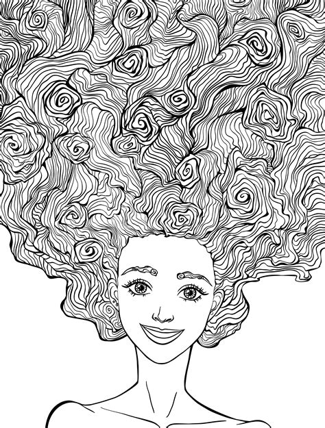 coloring pages of people s hair 10 crazy hair adult coloring pages page 10 of 12 nerdy