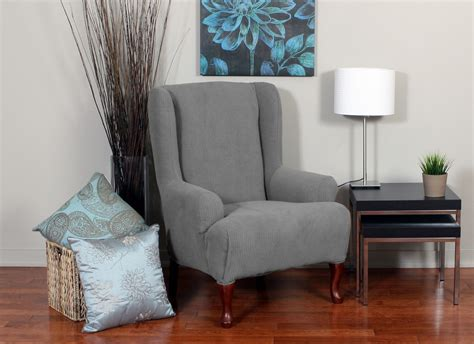Bedroom Gray Fabric Wingback Chair Cover With Full Length Slipcover For Wingback Sofa
