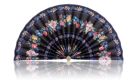 decorative pleated window fans black with blue and purple stripe and vibrant florals