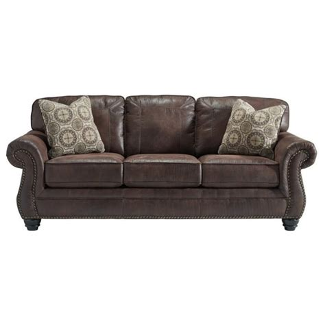 fake leather couch ashley breville faux leather sofa in espresso 8000338