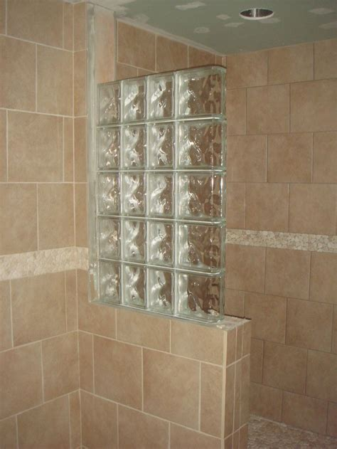 glass block bathroom wall half wall shower design an addition some glass