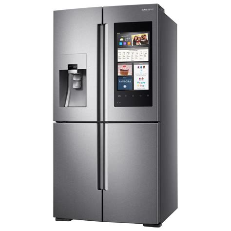 samsung 27 9 cu ft family hub 4 door flex door smart refrigerator in stainless steel